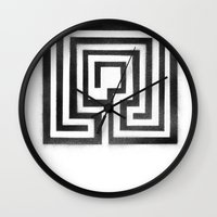labyrinth Wall Clocks featuring Labyrinth by Maria Quilez