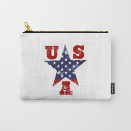 USA Flag Star Symbol Carry-All Pouch