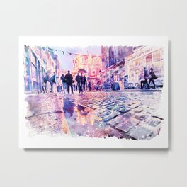 Dublin Watercolor Streetscape Metal Print