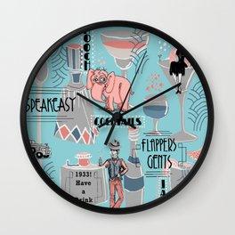 Prohibition Era, Cocktails, Anyone? Wall Clock