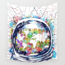 astronaut world map colorful Wall Tapestry