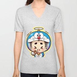 Doraemon chibi cosplay Unisex V-Neck