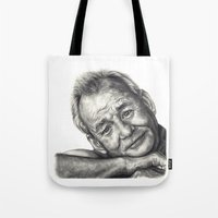 bill murray Tote Bags featuring Bill Murray  by Rachel Morgan Kitti