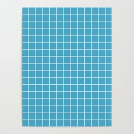 Maximum blue - blue color - White Lines Grid Pattern Poster
