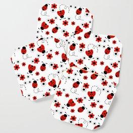 Red Ladybug Floral Pattern Coaster
