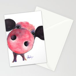 Nosey Pig ' CLARENCE ' by Shirley MacArthur Stationery Cards