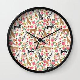 Great Dane floral dog breed pet friendly pet pattern great danes pure breed Wall Clock
