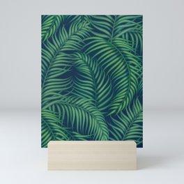 Night tropical palm leaves Mini Art Print