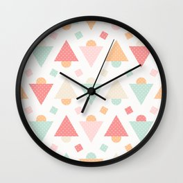 Retro pastel colors geometric shapes ornament Wall Clock