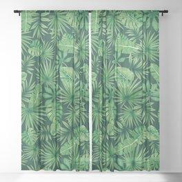 Tropical Floral Botanical Jungle Leaf Plants Nature Pattern Sheer Curtain