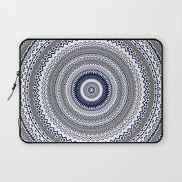 Navy Blue Grey Bohemian Mandala Laptop Sleeve
