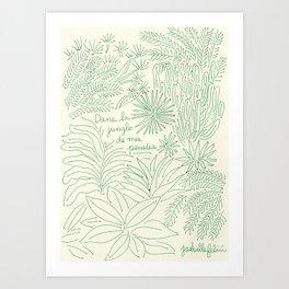 Dans la jungle de mes pensées (cream background) Art Print