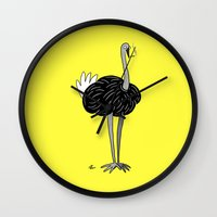 ostrich Wall Clocks featuring Ostrich? by Annadiplosis