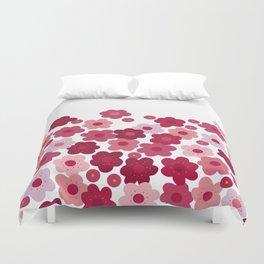 cherry blossom pop white Duvet Cover