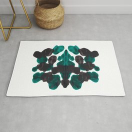 Dark Turquoise Green & Black Ink Blot Pattern Rug