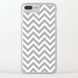 Grey and White Chevron Clear iPhone Case