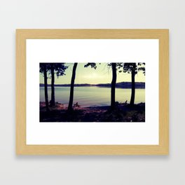 At the Edge of the Celestial Lake Framed Art Print