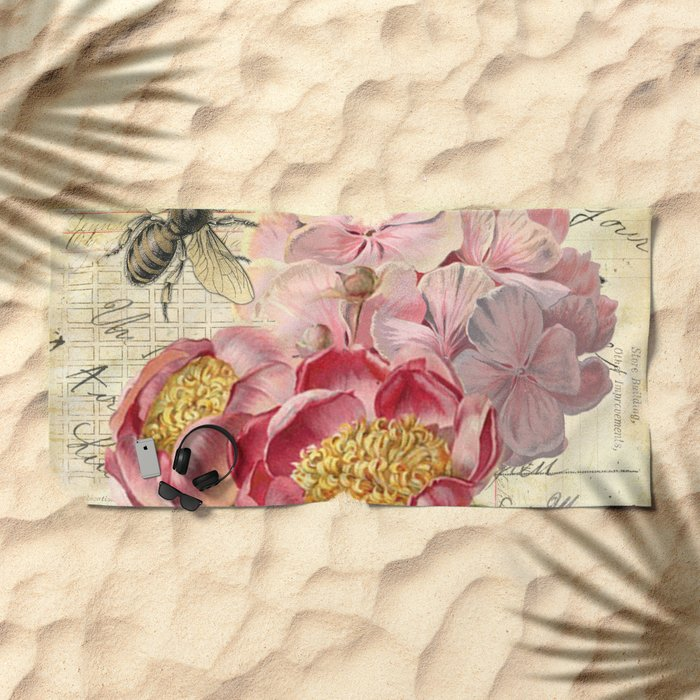 Vintage Flowers #20 Beach Towel