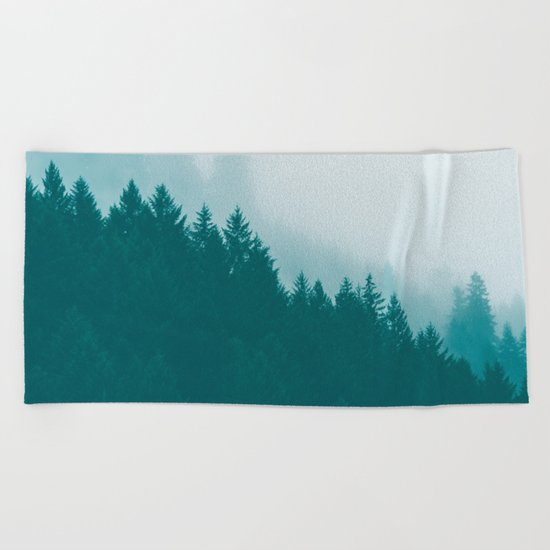 Green Mountain Fog Beach Towel