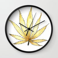 cannabis Wall Clocks featuring Golden Cannabis by  Can Encin
