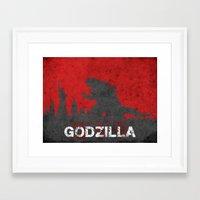 godzilla Framed Art Prints featuring Godzilla by WatercolorGirlArt