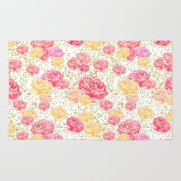 Watercolor Floral on White with Gold Confetti Dots Pink & Yellow Peony Rug
