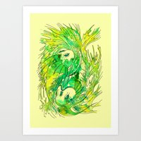 pisces Art Prints featuring pisces by Steven Toang