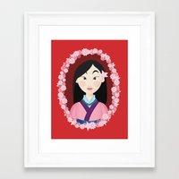mulan Framed Art Prints featuring Mulan  by Joey Ellson