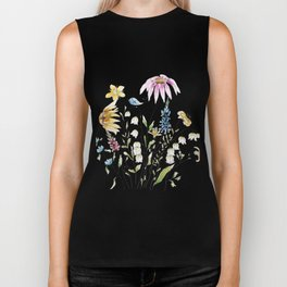 wild flowers and blue bird _ink and watercolor 1 Biker Tank