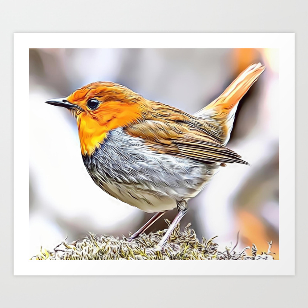 Robin Redbreast Airbrush Artwork Art Print by Russcarts (PRN9791332) photo