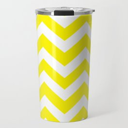 Cadmium yellow - yellow color -  Zigzag Chevron Pattern Travel Mug