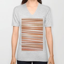 Fall Orange brown Neutral stripes Minimalist Unisex V-Neck