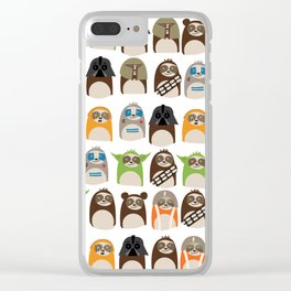Science Fiction Sloths Clear iPhone Case
