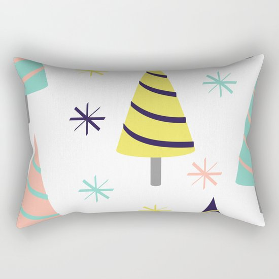 Colorful Christmas Trees Rectangular Pillow