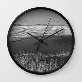 Prairie landscape with Calgary's skyline on the horizon  Wall Clock