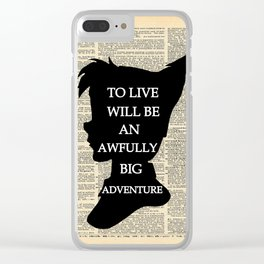 Peter Pan Over Vintage Dictionary Page - To Live Clear iPhone Case