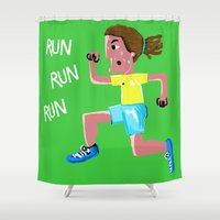 run Shower Curtains featuring RUN RUN RUN by Aaron Cushley
