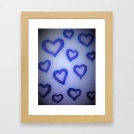 Blue Glow Hearts Framed Art Print