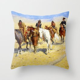 "Frederic Remington Art ""Pony Tracks In the Buffalo Trail"" Throw Pillow"