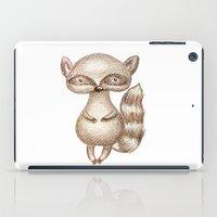racoon iPad Cases featuring Cute Racoon by Nadezhda Alkimovich