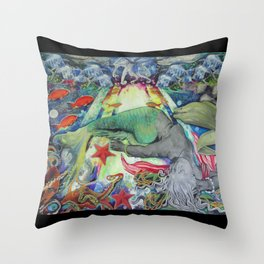 Syren the mermaid her  Throw Pillow