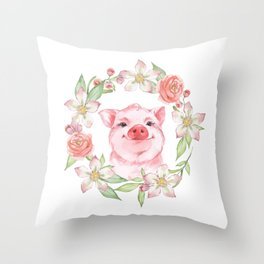 Pig and flowers Throw Pillow