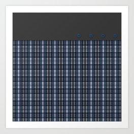 Blue grey plaid pattern Art Print