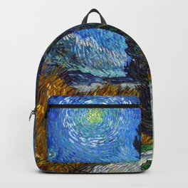 Road with Cypress and Star Oil Painting by Vincent van Gogh Backpack