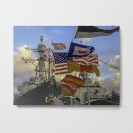 Full Flagged Ship Metal Print
