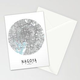 Nagoya City Map of Japan - Circle Stationery Cards