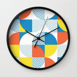 Mid century style circles pattern. Colorful geometric forms textured illustration pattern. Vintage round shapes modern background Wall Clock