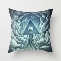 war Throw Pillows featuring War Of The Worlds I. by Dctr. Lukas Brezak