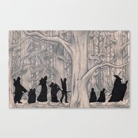 lotr Canvas Prints featuring On the way (The Fellowship of the Ring, LOTR) by Blanca MonQnill Sole