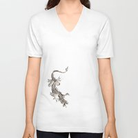 dragon V-neck T-shirts featuring Dragon by Ju.jo.weh